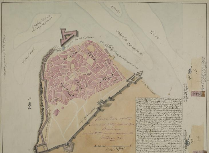رسم تخطيطي لمدينة بوشهر وتحصيناتها قبل قصف البريطانيين في ١٨٥٦. IOR/X/3116