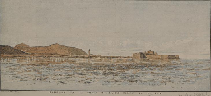 مشهد طوبوغرافي للحصن البرتغالي/ تفصيل من خريطة تاريخية لجزيرة هرمز، ١٨٧٤. IOR/X/3127