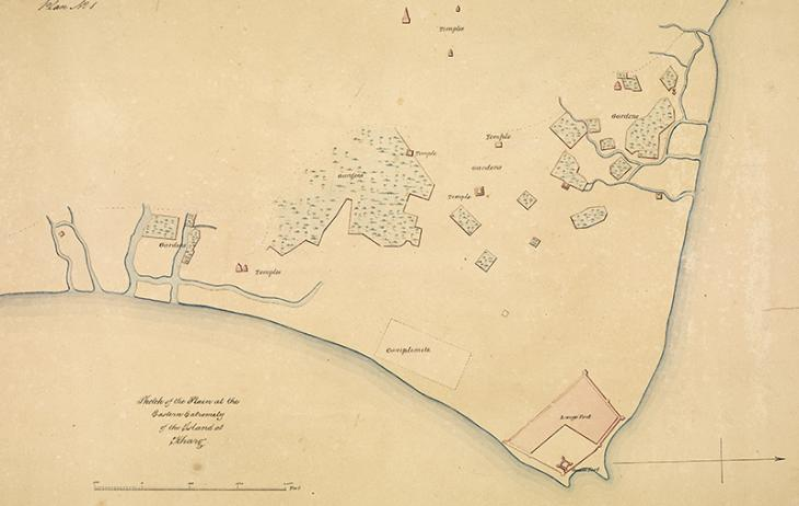 'Sketch of the Plain at the Eastern Extremity of the Island at Kharg', 22 July 1839. IOR/X/3128, p.1r