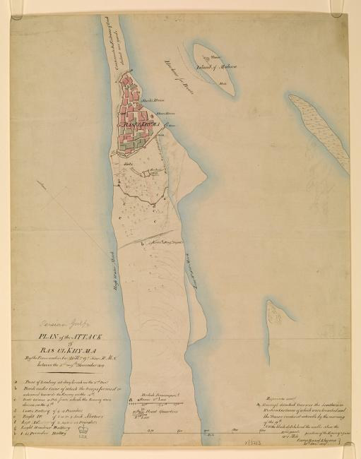 خريطة لخطة الهجوم على رأس الخيمة، بين ٣-٩ ديسمبر ١٨١٩. IOR/X/3213