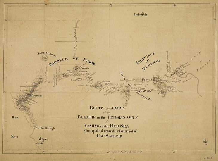 Map of George Sadleir's journey across the Arabian Peninsula, compiled from his diary. IOR/X/3215