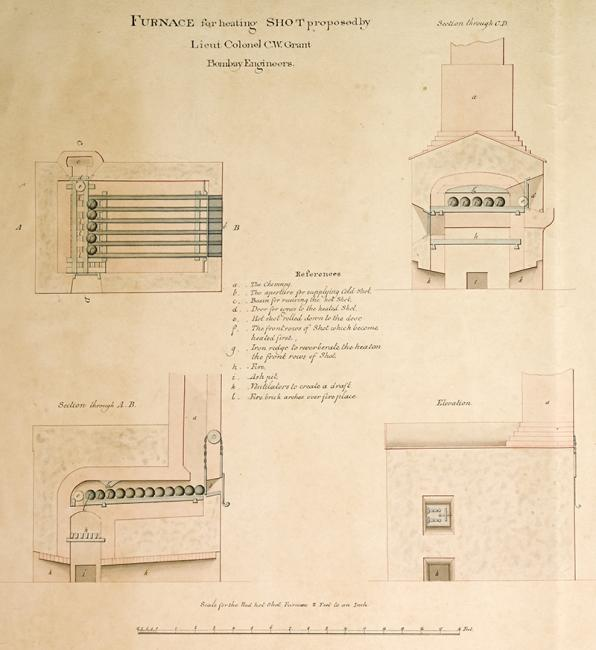 Plans and technical drawings of devices in Aden proposed by Lieutenant Colonel C.W. Grant. IOR/X/3238, p.1r
