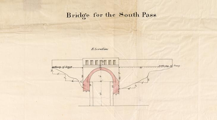 Extract of map 'Bridge for the south pass' IOR/X/3260, p.1r
