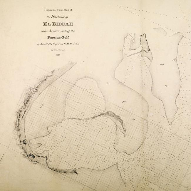 [Extract of] 'Trigonometrical plan of the harbour of El Biddah on the Arabian side of the Persian Gulf. By Lieuts. J. M. Guy and G. B. Brucks, H. C. Marine. Drawn by Lieut. M. Houghton''. IOR/X/3694
