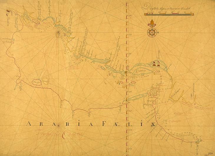 19th century copy of a nautical chart of the Persian Gulf produced in the second half of the 17th century by an anonymous Dutch chart maker showing a route along the coasts of Persia and Oman, represented by a single line of soundings. IOR/X/414/220, p.2r