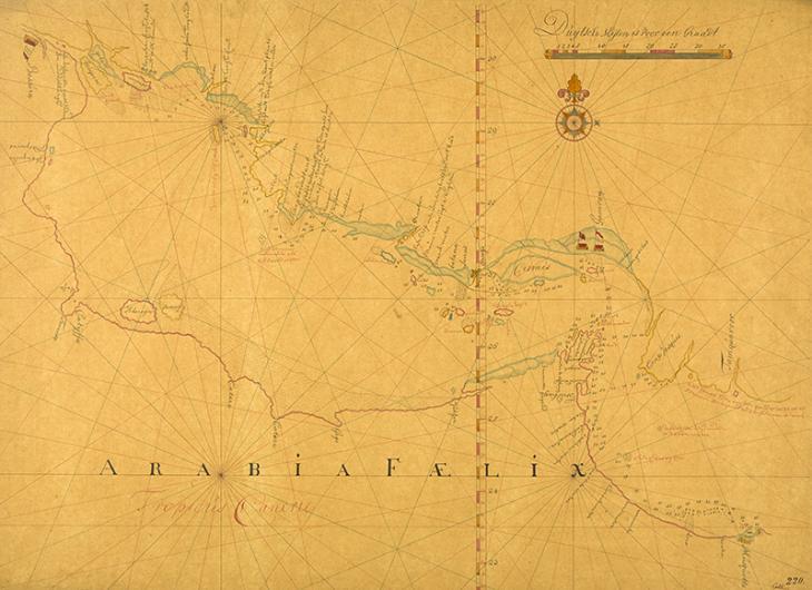نسخة ترجع للقرن التاسع عشر من خريطة بحرية للخليج العربي قام بإعدادها في النصف الثاني من القرن السابع عشر صانع خرائط هولندي مجهول وتوضح طريقًا ممرًا بحريًا يمر بمحاذاة سواحل فارس وعُمان ويمثله خط واحد لقياسات العمق. IOR/X/414/220، ص.٢و