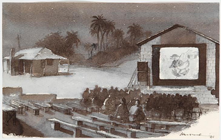 هارولد ويليام هايلستون، سينما مكشوفة في الهواء الطلق في البحرين، الخليج العربي، ١٩٤١-١٩٤٤. حقوق النشر لمتاحف الحرب الملكية، لندن (Art.IWM ART LD 5268).