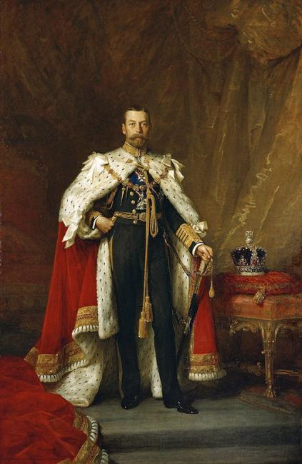 Coronation portrait of George V, oil on canvas by Luke Fildes (1843–1927). Royal Collection RCIN 402023