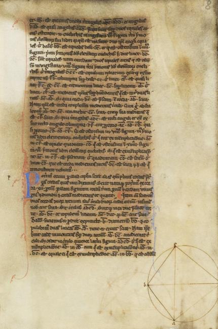Ebdelmessie's Latin translation of Thābit ibn Qurrah's version of the Almagest. The page shows Thābit's replacement of one of Ptolemy's arguments with an alternative diagram and proof. MS Dresden, SLUB, Db. 87, fol. 8r