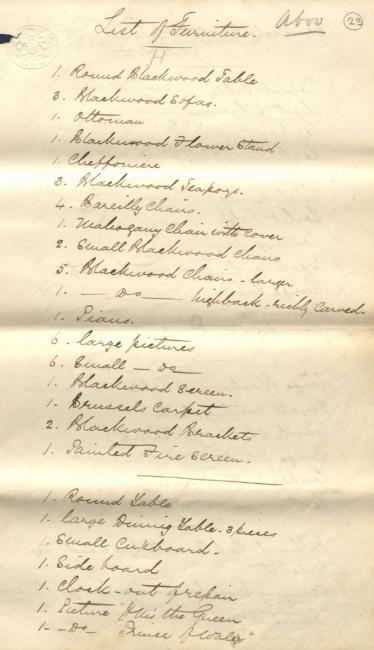 قائمة الآثاث التي أراد ألفريد تشارلز ليال أن يشتريها من السير لويس بيلي. Mss Eur F126/9، ص. ٢٣و