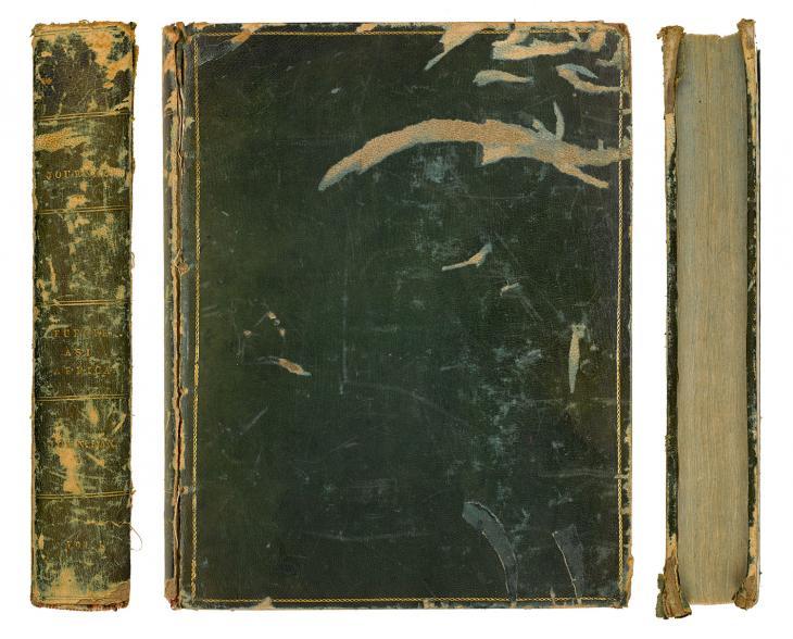 مخطوطات مذكرات جون باكس: المجلد الأول (الكعب والغلاف الأمامي وحافة الصدر). Mss Eur F377/1