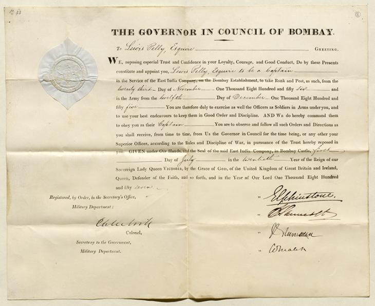 Captain 23 November 1856 - Pelly's Certificate of Commission to the appointment of Captain, 23 November 1856. Mss Eur F126/12, f. 2