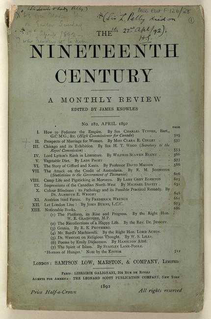 """الغلاف الأمامي لدورية  """"القرن التاسع عشر""""، عدد رقم ١٨٢، أبريل ١٨٩٢، والتي قرأ فيها بيلي مقالة للأنسة كلارا إ. كوليت بعنوان """"""""تطلعات الزواج للنساء""""  قبل خمسة أيام من وفاته."""