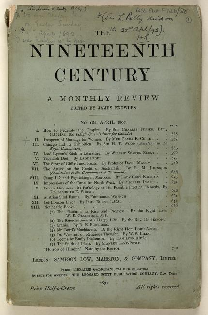 Front cover of a copy of the journal The Nineteenth Century, No. 182, April 1892. Pelly had read an article in the journal on the 'Prospects of Marriage for Women', by Miss Clara E Collet, five days before he died. Mss Eur F126/28