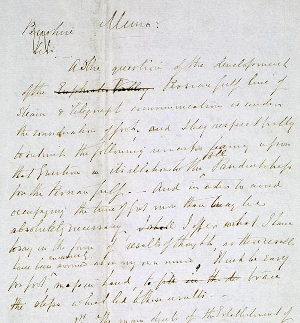 Extract of a memorandum written by Pelly on the development of steam and telegraph communications and their impact on the Political Residency in the Persian Gulf, written in the 1860s. Mss Eur F126/36, f. 13