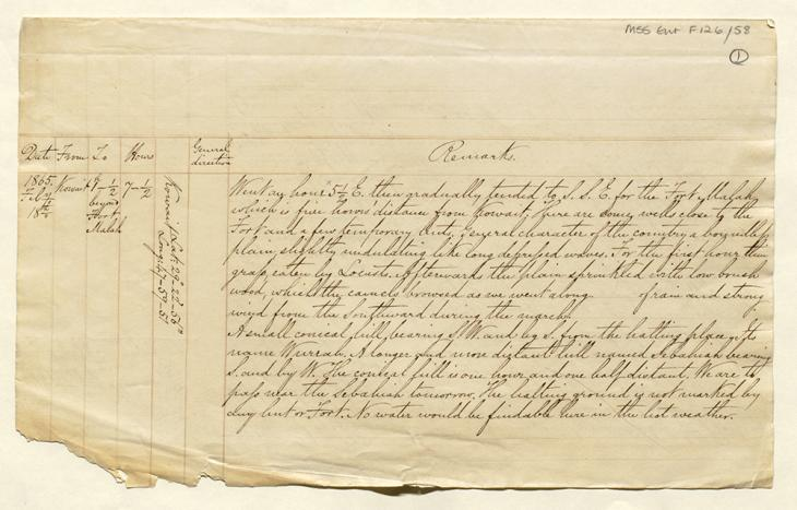 First page of a fair copy of Lewis Pelly's diary of his journey from Kuwait to Riyadh and back. Mss Eur F126/58, f 1