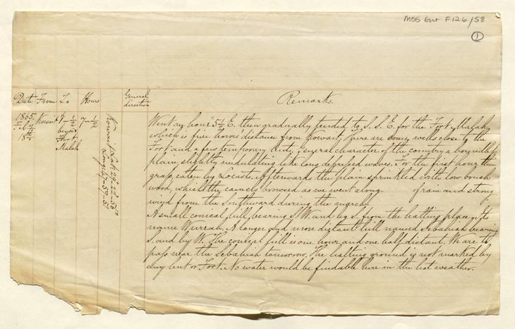 الصفحة الأولى لنسخة مبيضة لمذكرات بيلي أثناء رحلته من الكويت إلى الرياض وعودته. Mss Eur F126/58، ص. ١