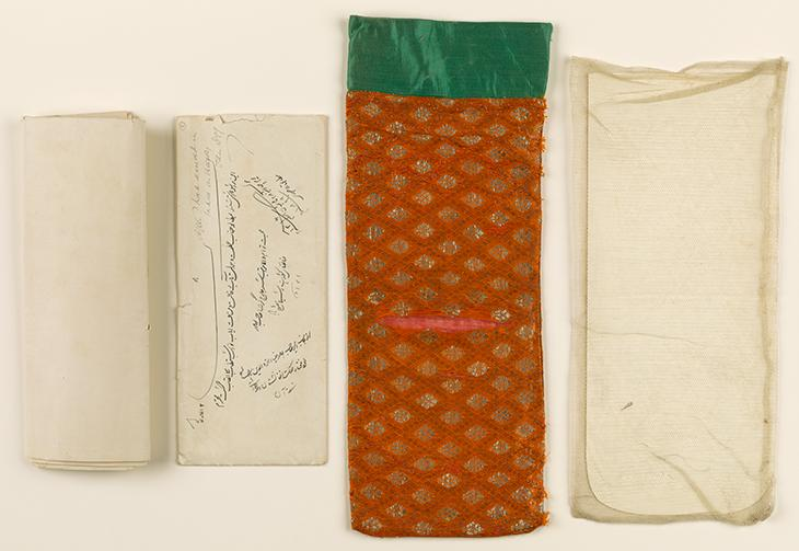 The letter, the paper envelope (f. 5), silk pouch and bobbinet cotton pouch. Mss Eur F111/361, ff. 2-5