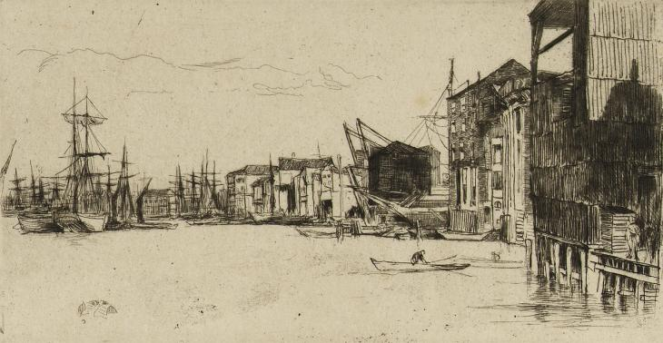 James Abbott McNeill Whistler, 'Free Trade Wharf', etching, c. 1859. Courtesy of the National Maritime Museum CC BY-NC-SA