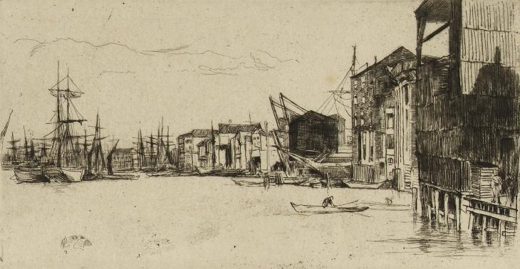 """نقش """"رصف التجارة الحرة"""" من قبل جيمس أبوت ماكنيل ويسلر، حوالي ١٨٥٩. بإذن من المتحف البحري الوطني (النسبة-غيرالتجاري-الترخيص بالمثل)"""