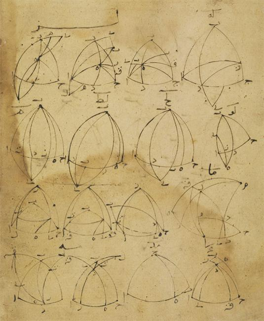 Figures from the translation of Menelaus of Alexandria's treatise on spheres. Or 13127, f. 53v