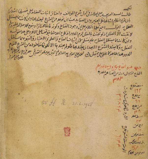 Fatḥ al-Dīn ibn Muẓaffar al-Ṣiddīqī's notes written at the Mosque of Sultan al-Ghūrī in Cairo, 1509. Or 13127, f. 55v