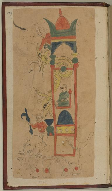 al-Jazarī's famous 'Elephant Clock'. From: al-Jazarī, The Book of Knowledge of Ingenious Mechanical Devices. Or. 116, f. 149r
