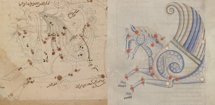 The constellation of Pegasus in al-Ṣūfī's Kitāb ṣuwar al-kawākib al-thābita (left, Or. 5323, f. 30v) and again in a contemporaneous 13th-century copy of its Latin translation (right, Bibliothèque de l'Arsenal, Ms. Latin 1036, f. 16r)