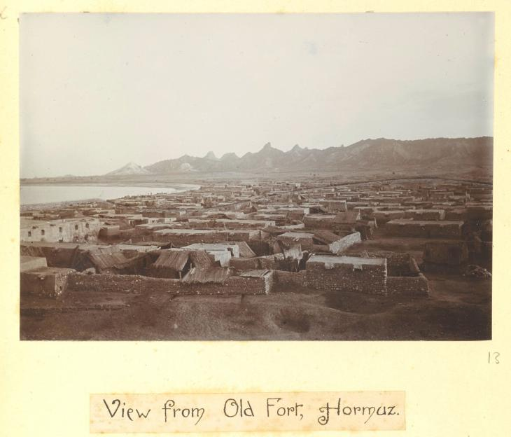 'View from Old Fort, Hormuz' which is reproduced in Lorimer's Gazetteer. (IOR/L/PS/20/C91/4, p. 750a). Photo 49/1/13