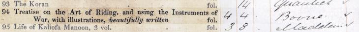 بيع مخطوطة ريد Add MS 18866 إلى المتحف البريطاني. كتالوج بيع سوثبي وويلكنسون، بتاريخ ٢٨ يناير ١٨٥٢، القطعة ٩٤