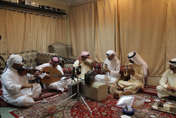 Sawt musicians in private majlis, Kuwait - photograph Rolf Killius