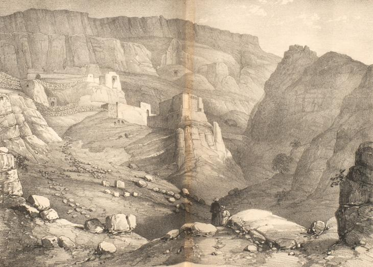 Illustration from 'Narrative of a Residence in Koordistan' showing the convent of Rabban Hormuz. T 12055 vol. 2, f. 98a