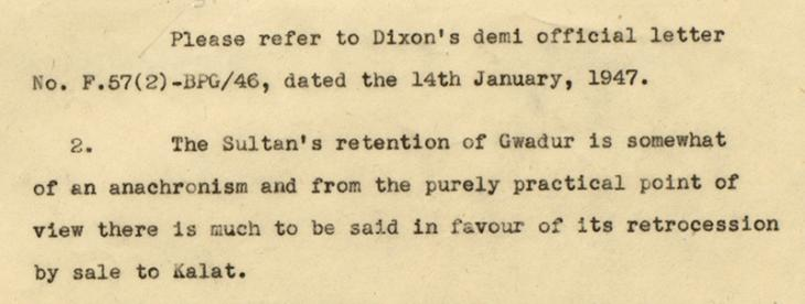 Letter from the Persian Gulf Residency, Bahrain to the Secretary to the Government of India, dated 1 February 1947 concerning the possible sale of Gwadar to Kalat. IOR/R/15/1/381, f. 4