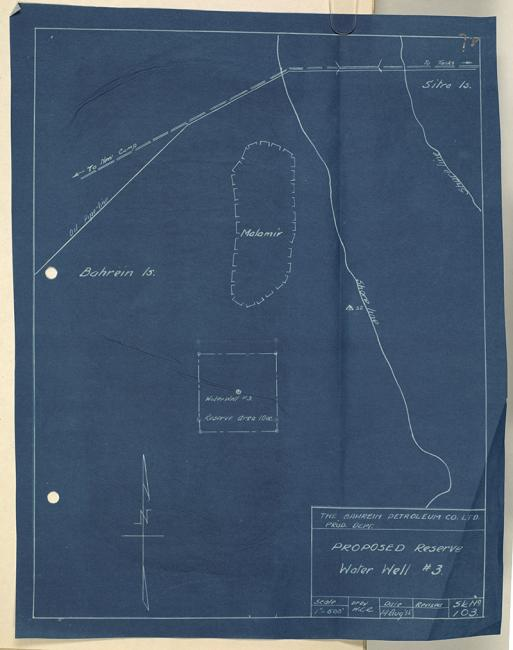 عنوان الصورة: بئر المياه المحفوظة المُقترح، شركة نفط البحرين المحدودة، ١٩٣٥. IOR/R/15/2/399، ص. ٧١