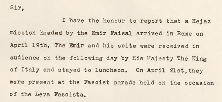 Letter from the British Embassy in Rome, 23 April 1932. IOR/R/15/1/602, f. 11