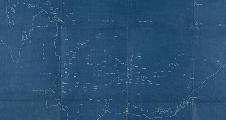 Extract of blueprint map of the Arab coast of the Gulf, with pearl banks indicated, 1930s. IOR/R/15/1/616, f. 3