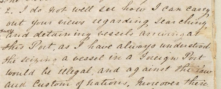 Extract of a letter sent by Captain Felix Jones, Resident in the Persian Gulf, to H. L. Anderson, Secretary to the Government in Bombay, November 1858. IOR/R/15/1/177, ff. 18–19
