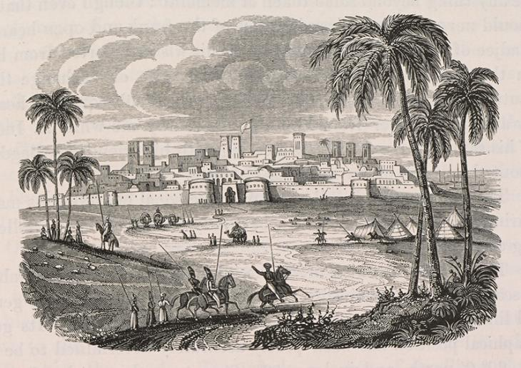A view of Bushire in the 1820s. From Buckingham, Travels in Assyria, Media, and Persia…, p.345. Ref: 567.g.5.