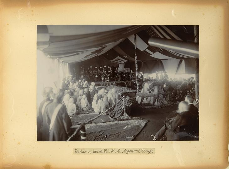 Photograph of Lord Curzon's durbar aboard RIMS Argonaut, Sharjah, 21 November 1903. Photo 49/1/7