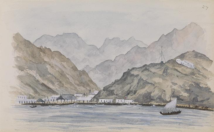 A landscape view, 'Aden' by Kate Toynbee (fl. 1879-80). WD1348/27, ‎f. 1r